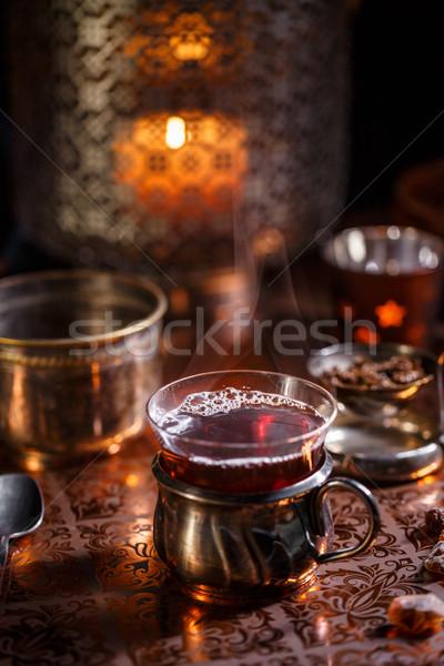 Cup tè aromatico candele buio Foto d'archivio © grafvision