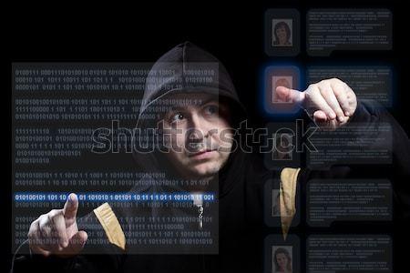 Hacker pracy nowoczesne technologii skupić strony Zdjęcia stock © grafvision