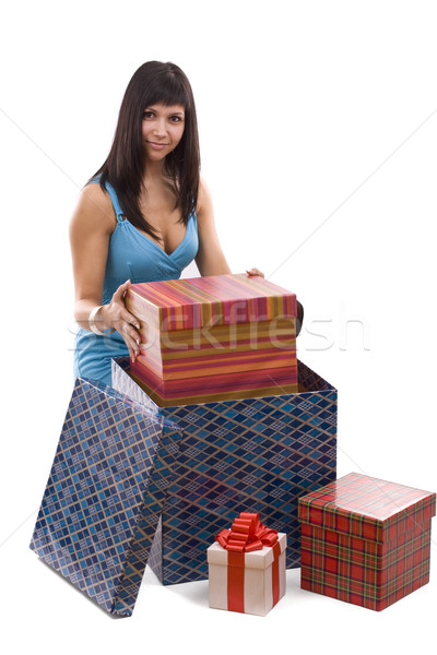 Woman putting giftbox into package  Stock photo © grafvision