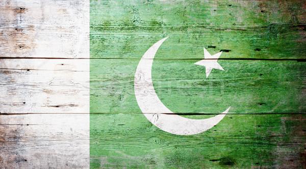 Vlag Pakistan geschilderd hout plank Stockfoto © grafvision