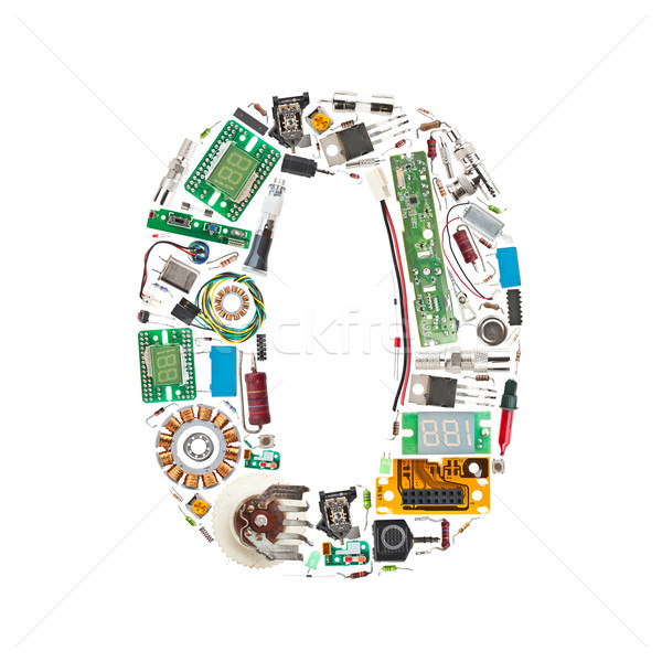 Number '0' made of electronic components Stock photo © grafvision