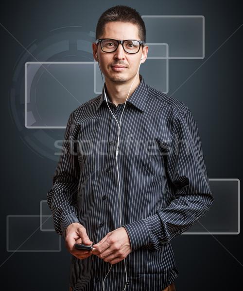 ストックフォト: ビジネスマン · バーチャル · ボタン · ビジネス · 男 · ウェブ
