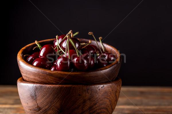 Friss fanyar cseresznye tál főzés életstílus Stock fotó © grafvision