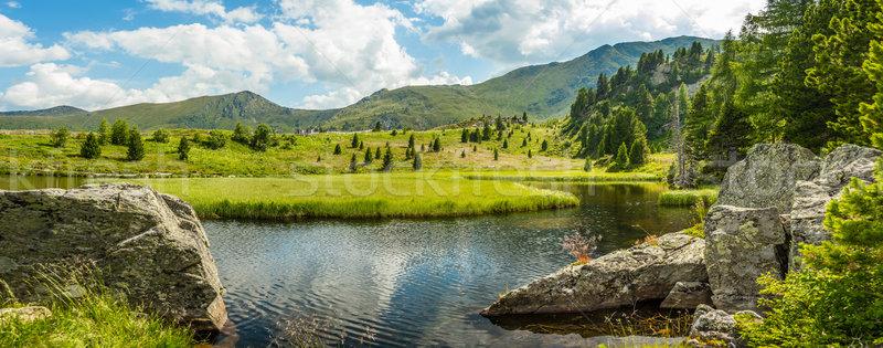 Pastoral yaz manzara dağ göl alpler Stok fotoğraf © grafvision