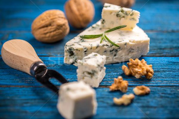 ブルーチーズ ナット 青 木製のテーブル チーズ フォーク ストックフォト © grafvision