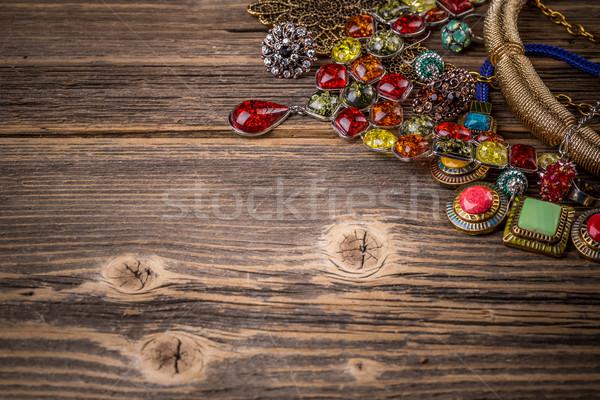 Fából készült felület háttér szépség szín ékszerek Stock fotó © grafvision