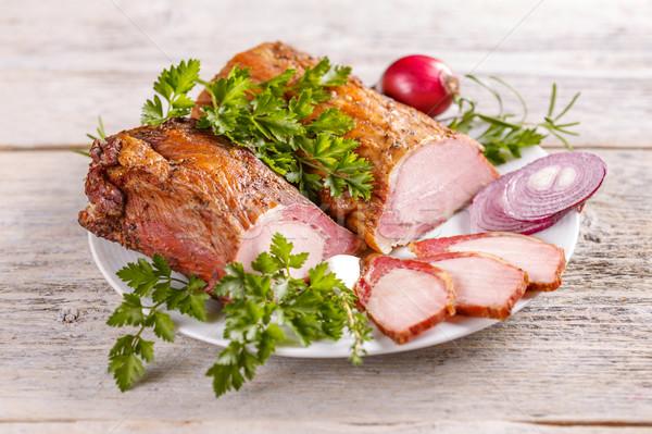 薫製 豚肉 スパイス 白 プレート ストックフォト © grafvision