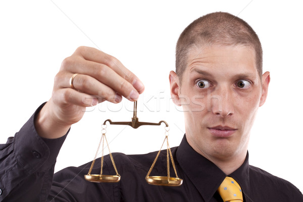 ビジネスマン 正義 規模 孤立した 白 ストックフォト © grafvision