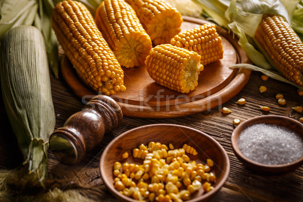 Boiled sweet corn Stock photo © grafvision