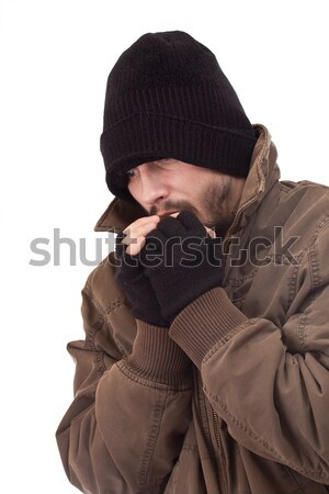 Hajléktalan férfi hideg izolált fehér szem Stock fotó © grafvision