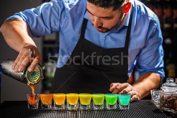 Kolorowy tęczy koktajle tuzin przygotowany Licznik Zdjęcia stock © grafvision