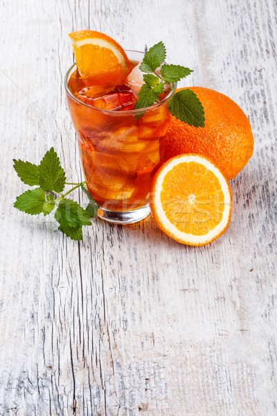 Glass of fruit iced tea Stock photo © grafvision