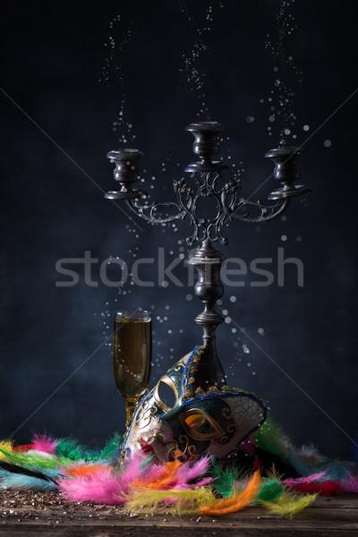 Carnaval masker levendig veer partij gezicht Stockfoto © grafvision