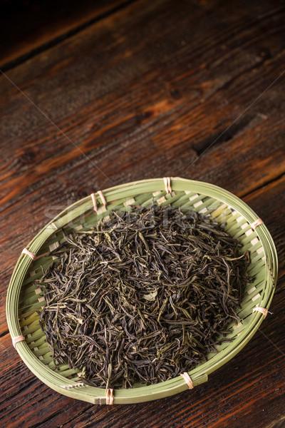 Sécher thé vert laisse bambou osier plaque Photo stock © grafvision