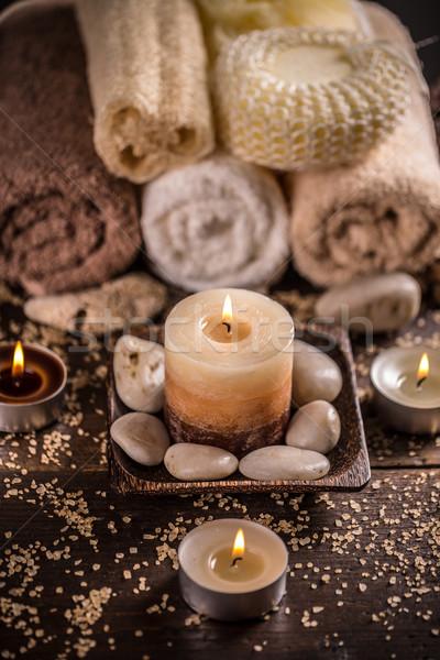 Trattamento termale buio tavola massaggio relax candela Foto d'archivio © grafvision