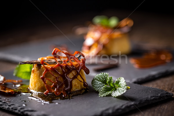 Karmel odznaczony żywności czarny deser zimno Zdjęcia stock © grafvision