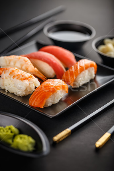 Sushi plate with chopsticks Stock photo © grafvision