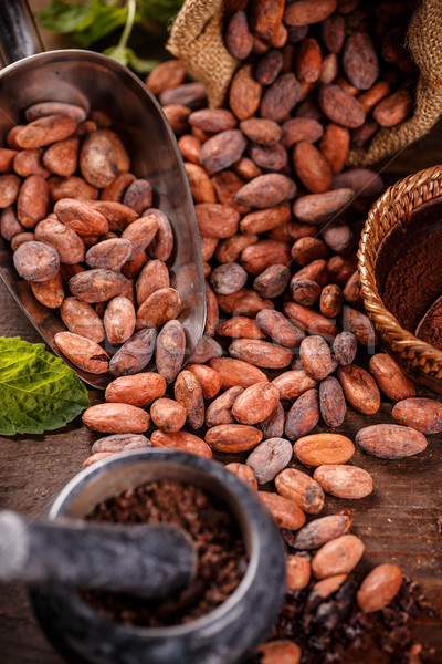 Foto stock: Chocolate · vintage · semente · feijões · feijão