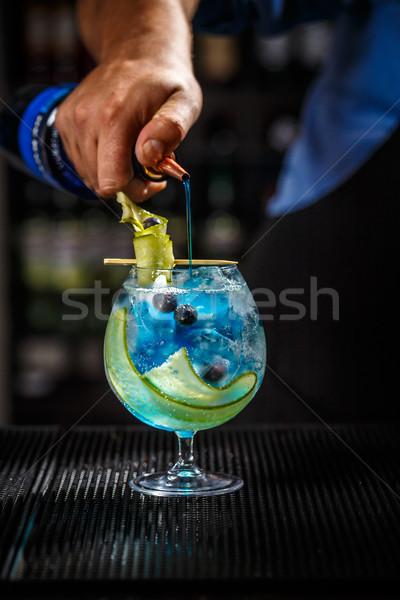 Kék gin csapos buli gyümölcs bár Stock fotó © grafvision