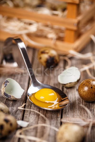 Friss tojás közelkép nyers tojások kanál Stock fotó © grafvision