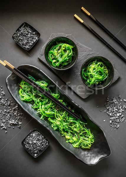 Hínár salátástál felső kilátás fekete japán étel Stock fotó © grafvision