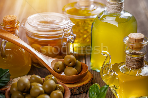 Olives berries and oil Stock photo © grafvision