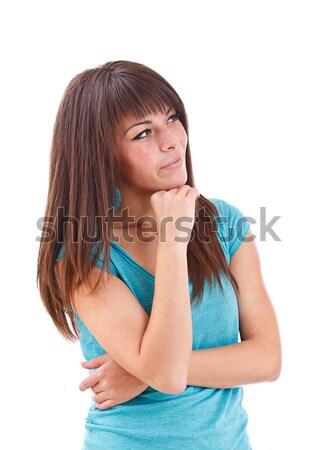 Szépség vörös hajú nő nő áll kék ruha Stock fotó © grafvision