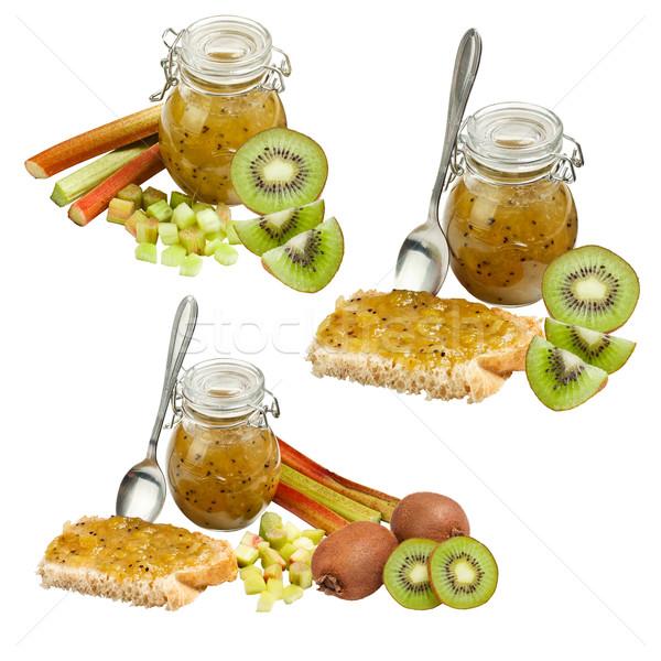 Rabarbar jam kiwi odizolowany biały owoców Zdjęcia stock © grafvision