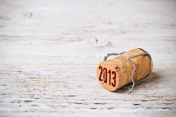 Foto stock: Champanhe · cortiça · pintado · madeira · velha · textura · vinho