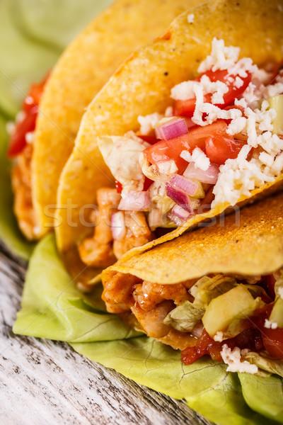Frango tacos queijo jantar salada Foto stock © grafvision