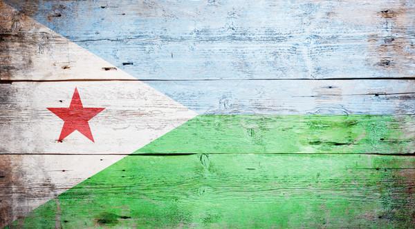флаг Джибути окрашенный древесины доска Сток-фото © grafvision