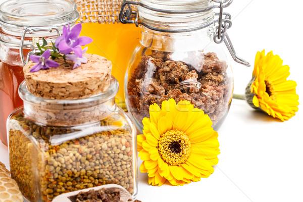 Foto d'archivio: Miele · polline · propoli · miele · di · ape · prodotti