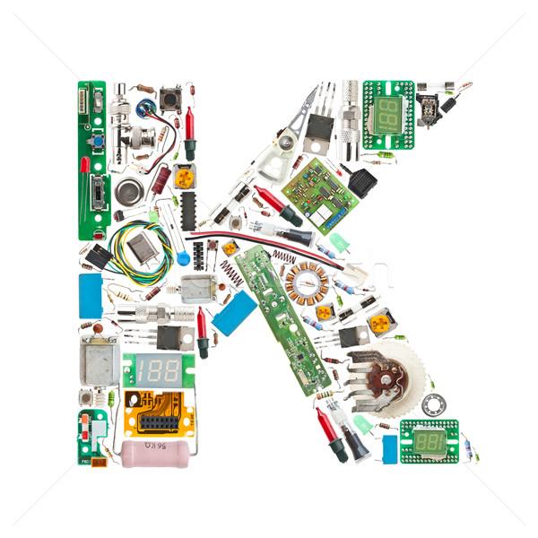 Elettronica componenti lettera isolato bianco computer Foto d'archivio © grafvision