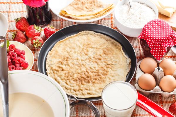 Pannenkoek voorbereiding pannenkoeken ingrediënten melk eieren Stockfoto © grafvision