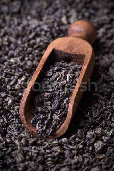Merítőkanál zöld tea levelek tea Stock fotó © grafvision