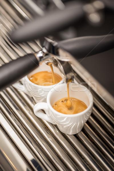 Koffiezetapparaat machine espresso witte keramische Stockfoto © grafvision