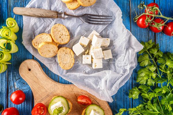 Bruschetta gezouten kubus partij brood Stockfoto © grafvision