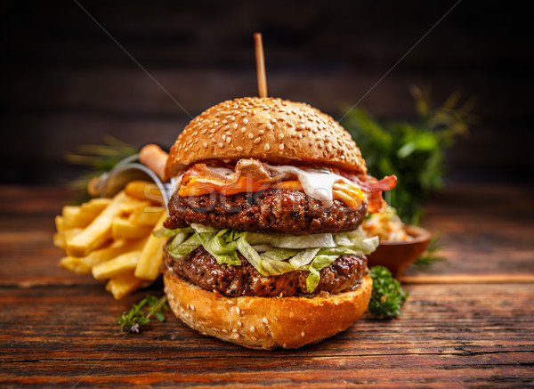 Delicious burgers with beef patty Stock photo © grafvision