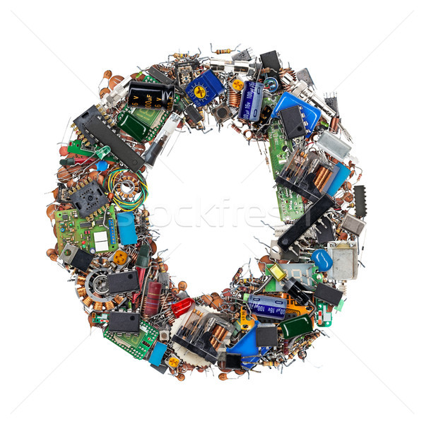 Letter O made of electronic components Stock photo © grafvision