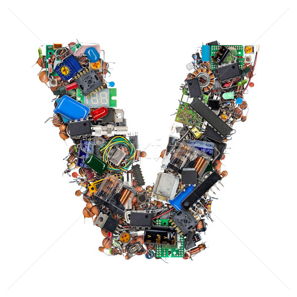 Letter V made of electronic components Stock photo © grafvision