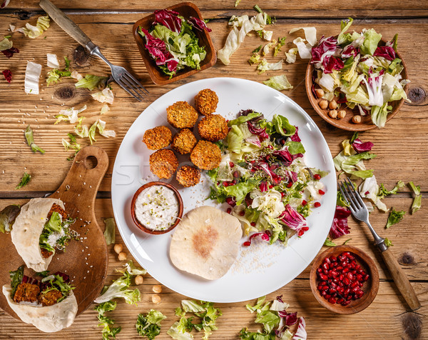 Stock photo: Plate of traditional falafel patties