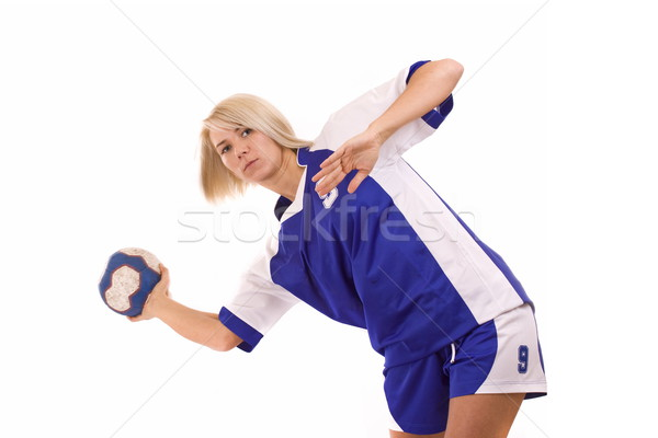 ストックフォト: ハンドボール · プレーヤー · 女性 · 撮影 · ポーズ · ボール
