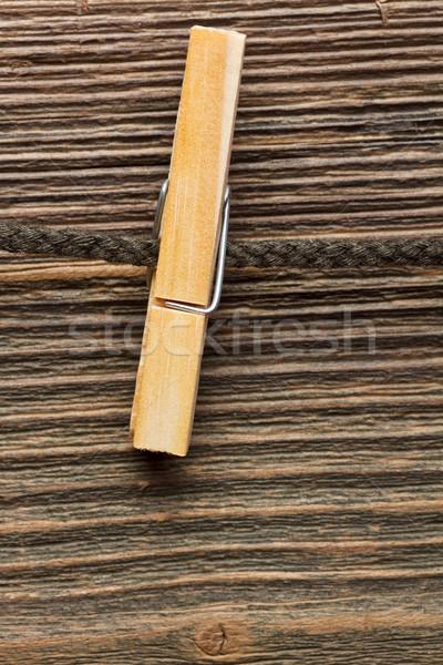 Ruhaszárító szeg fa kábel ruházat ruha Stock fotó © grafvision