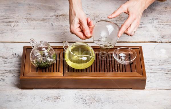 китайский чай церемония женщину стороны древесины Сток-фото © grafvision