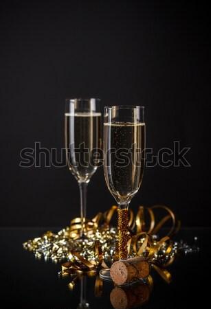 Foto stock: Champán · gafas · listo · año · nuevo · feliz · vidrio