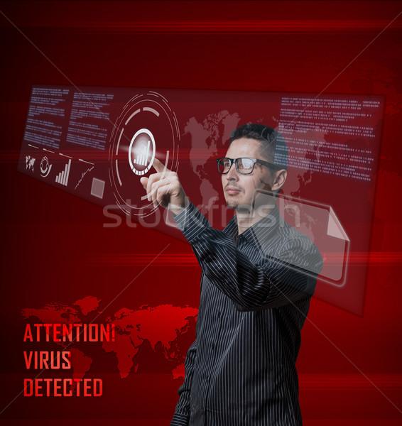 Numérique jeunes homme d'affaires poussant bouton interface Photo stock © grafvision