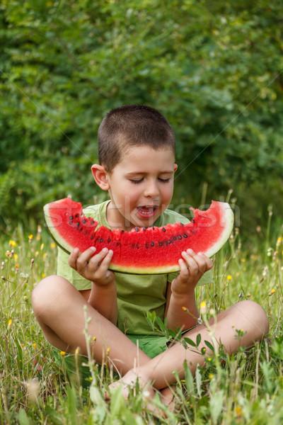 Stock fotó: Gyermek · görögdinnye · boldog · nagy · piros · szelet