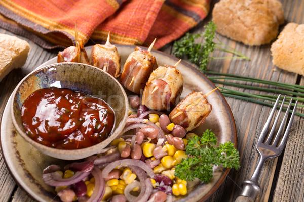 Húsgombócok tekert szalonna paradicsomszósz étel tyúk Stock fotó © grafvision