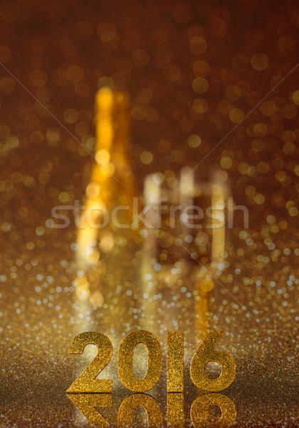 Yılbaşı zarif altın 2016 yaldızlı sayılar Stok fotoğraf © grafvision