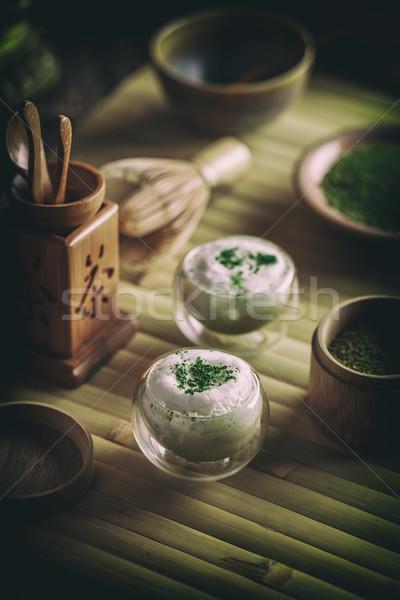 Thé vert verre tasse fond vert boire Photo stock © grafvision